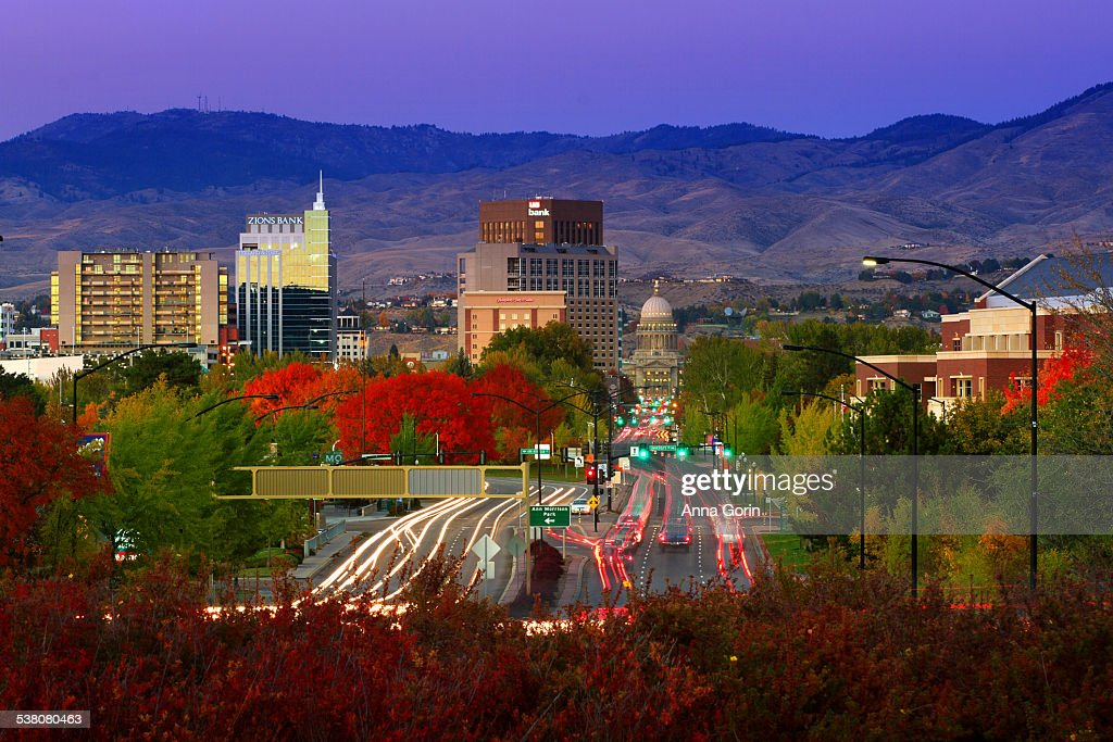 Twilight over Boise in autumn, light trails
