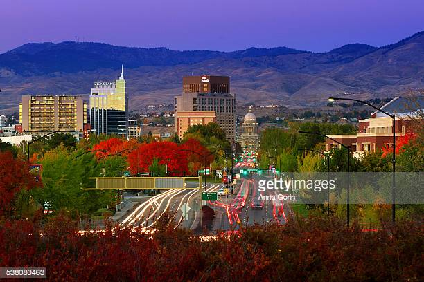 Twilight over Boise in autumn, light trails