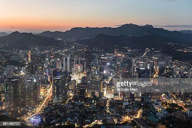 Twilight over Seoul skyline