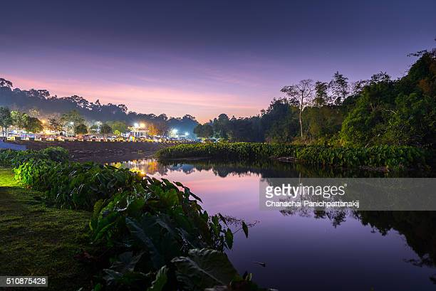 Twilight scene of campsite at Khao Yai National Park, Thailand