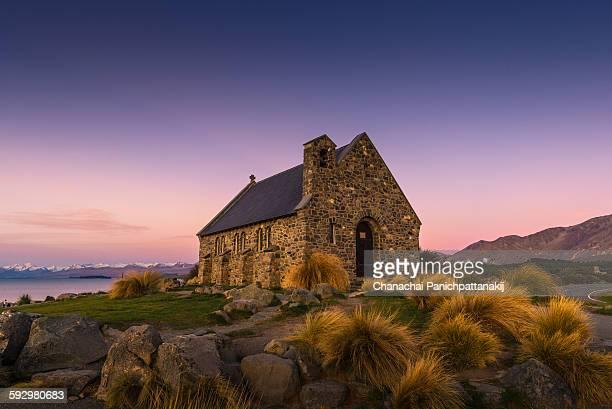 Twilight scene of Church of the Good Shepherd