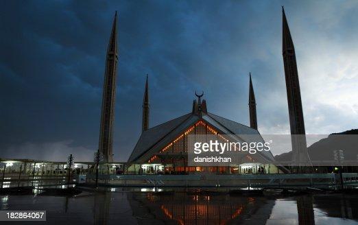 Twilight Mosquée Shah Faisal :  Islamabad, capitale du Pakistan