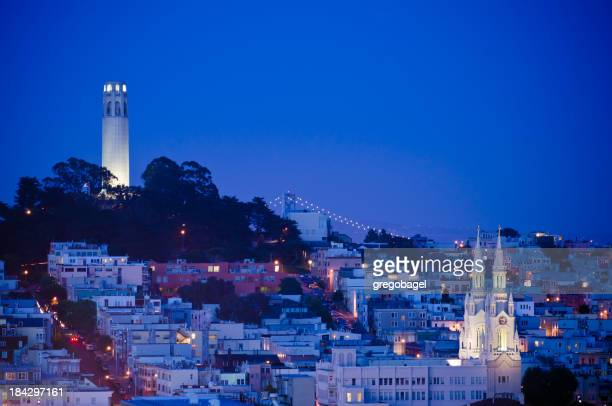 Twilight view of Coit Tower in San Francisco, Ca