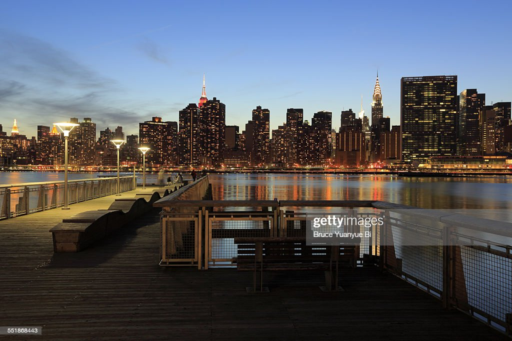 Twilight view of Manhattan from Queens