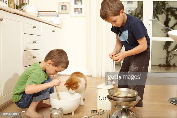 Twin boys making cake mix, cat looking in the bowl