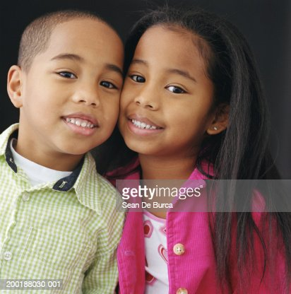 Twin Brother And Sister Cheek To Cheek Portrait Stock ...
