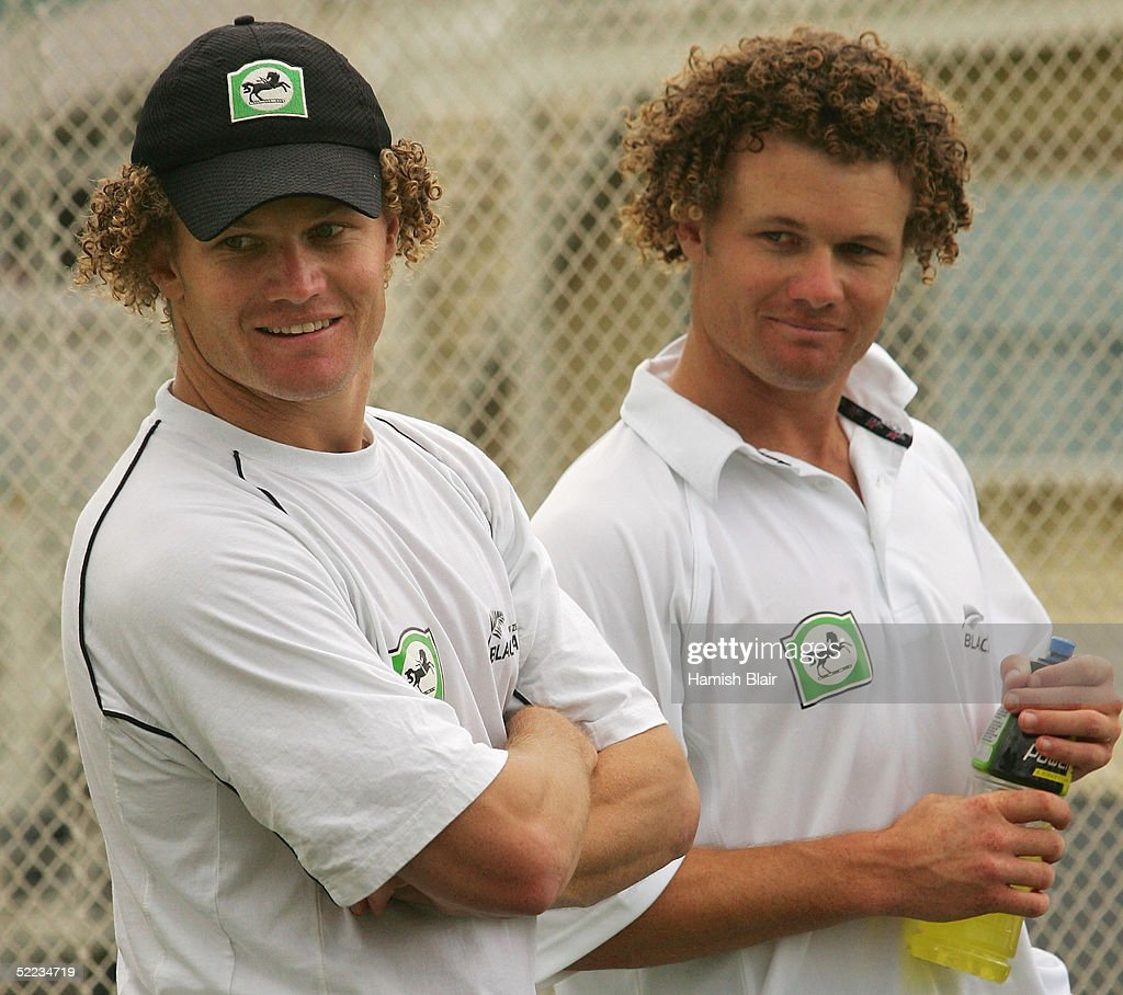 Twin brothers Hamish Marshall and James Marshall of New Zealand look on during training at Eden Park during the Australian Cricket Team's tour of New...