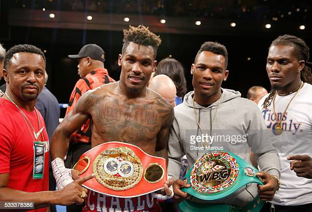 Twin brothers IBF junior middleweight champion Jermall Charlo and WBC super welterweight champion Jermell Charlo display their belts at The Chelsea...
