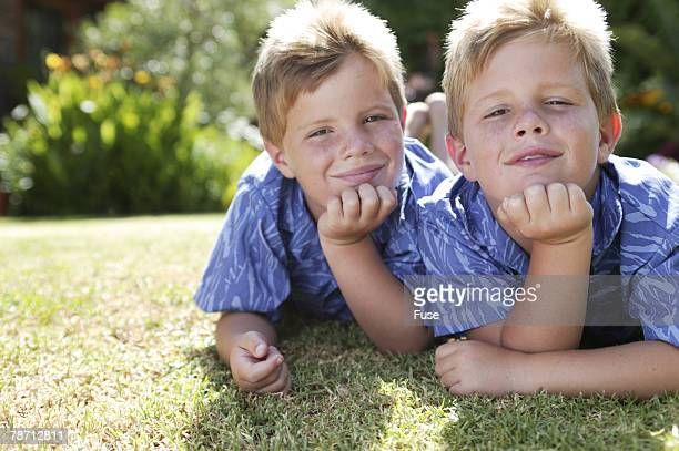 Twin Brothers on Lawn