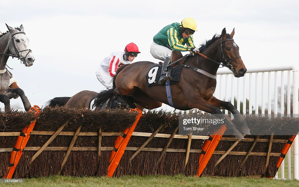 Twin Budd ridden by Mattie Batchelor jumps the last fence to win the Tysers Mares' Handicap Hurdles Race at Plumpton Racecourse on December 3, 2012 in Plumpton, England.