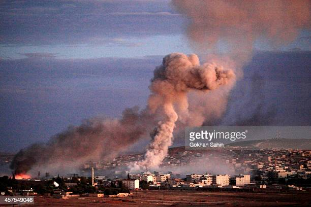Twin explosion rocks Syrian city of Kobani during a reported suicide car bomb attack by the militants of Islamic State group on a People's Protection...