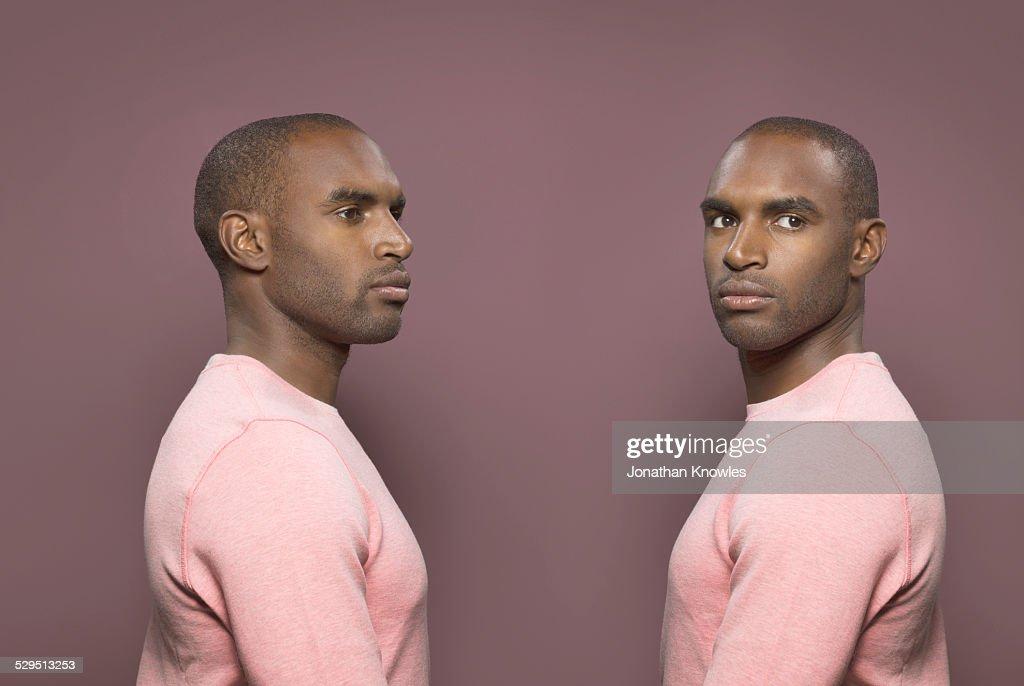 Twin image, dark skinned male