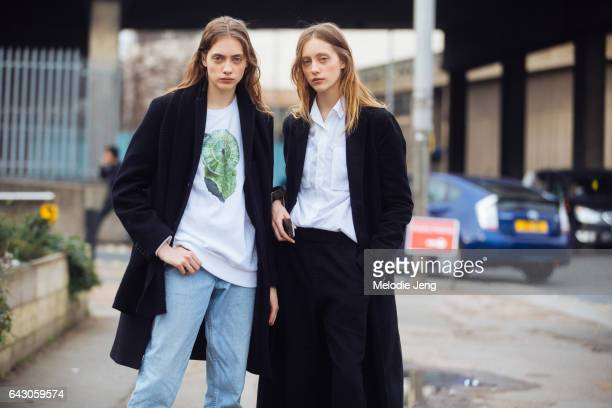 Twin models Lia Pavlova Odette Pavlova on day 3 of the London Fashion Week February 2017 collections on February 19 2017 in London England