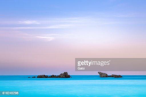 Twin rocks in the sea. : Foto de stock