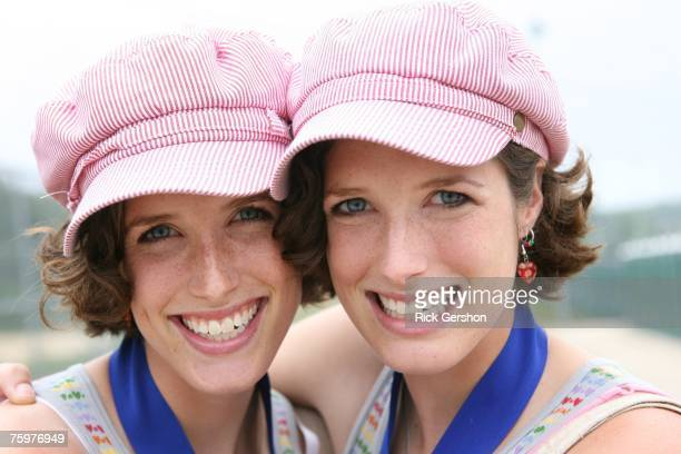 Twin sisters Lisa and Julie York pose for a picture during the final day of Twins Days August 5 2007 in Twinsburg Ohio The annual event is recorded...