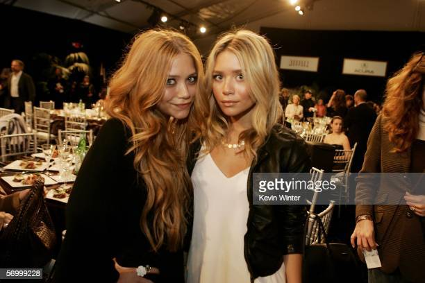 Twin sisters MaryKate Olsen and Ashley Olsen in the audience at the Film Independent's 2006 Independent Spirit Awards at Santa Monica Beach March 4...