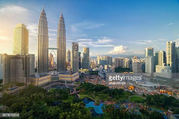 Twin tower in Malaysia, Asian during twilight