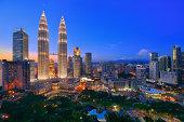 Twin tower twilight at Kuala Lumpur, Malaysia