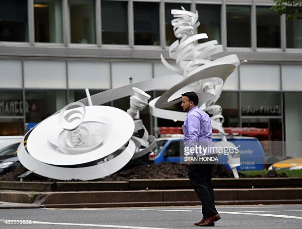 'Twin Vortexes ' an aluminum sculpture by Alice Aycock on Park Avenue July 16 2014 in New York 'Park Avenue Paper Chase' is an exhibition of 7 large...
