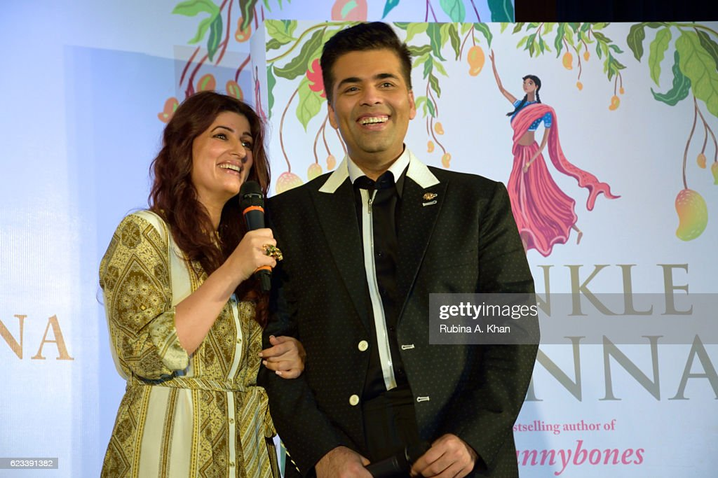 Twinkle Khanna and Karan Johar at the launch of her second book, The Legend of Lakshmi Prasad, published by Juggernaut Books, at the JW Marriott on November 15, 2016 in Mumbai, India.