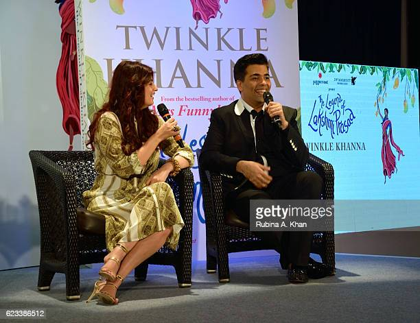 Twinkle Khanna in conversation with Karan Johar at the launch of her second book The Legend of Lakshmi Prasad published by Juggernaut Books at the JW...