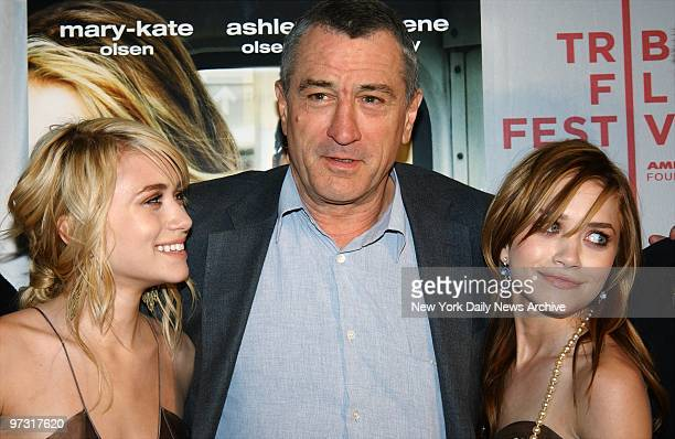 Twins Ashley and MaryKate Olsen get together with Robert De Niro before a screening of the movie 'New York Minute' at the Tribeca Family Film...