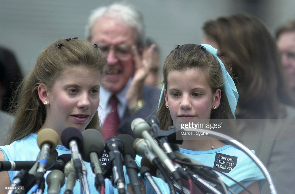 Twins Jackie, left, and Mollie Singer address the gathering of press and Members, concerning Mollie's juvienile diabetes. Jackie does not have the disease. The twins have written numerous letters to President Bush asking for support.