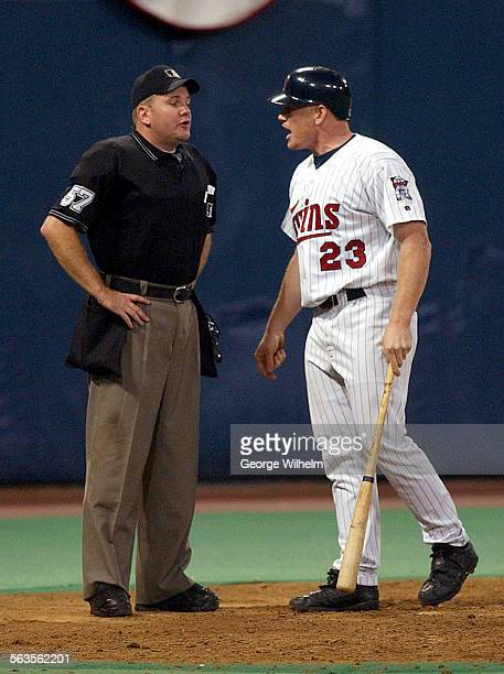 Twins pinch hitter Bobby Kielty argues a called strike three in the bottom of the eigth off closer Troy Percival