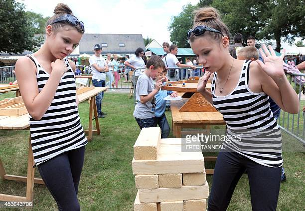 Twins play games in the Fete des Jumeaux a gathering of twins triplets and quadruplets in Pleucadeuc France on August 15 2014 AFP PHOTO/ FRED TANNEAU
