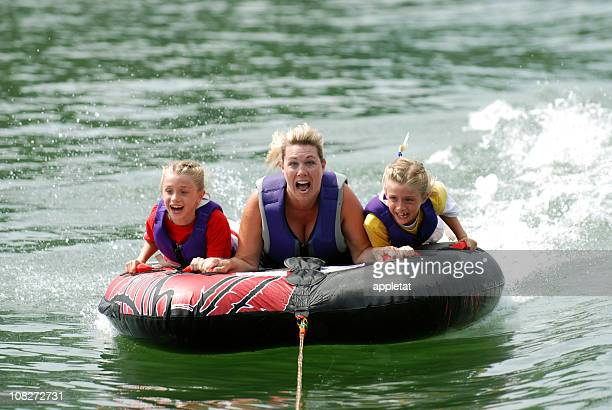 Twins with Mom Riding Tube