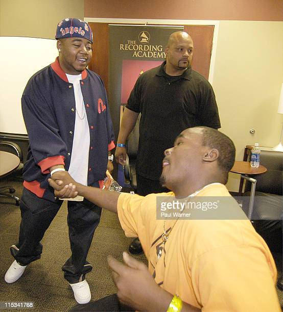 Twista shakes hands with a member of Youth Under Construction at the Grammy Soundcheck