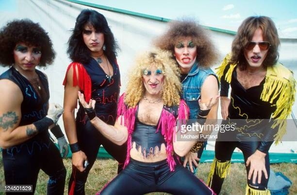 Twisted Sister group portrait backstage at Reading Festival 29th August 1982 LR AJ Pero Eddie Ojeda Dee Snider Mark Mendoza JJ French
