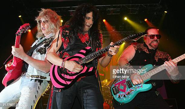 Twisted Sister guitarists Jay Jay French and Eddie Ojeda and bassist Mark Mendoza perform at The Joint inside the Hard Rock Hotel Casino September 2...