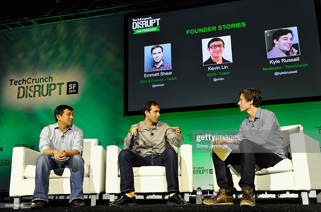 Twitch COO Kevin Lin, Twitch CEO and Founder Emmet Shear and TechCrunch Moderator Kyle Russell speak onstage at TechCrunch Disrupt at Pier 48 on September 8, 2014 in San Francisco, California.