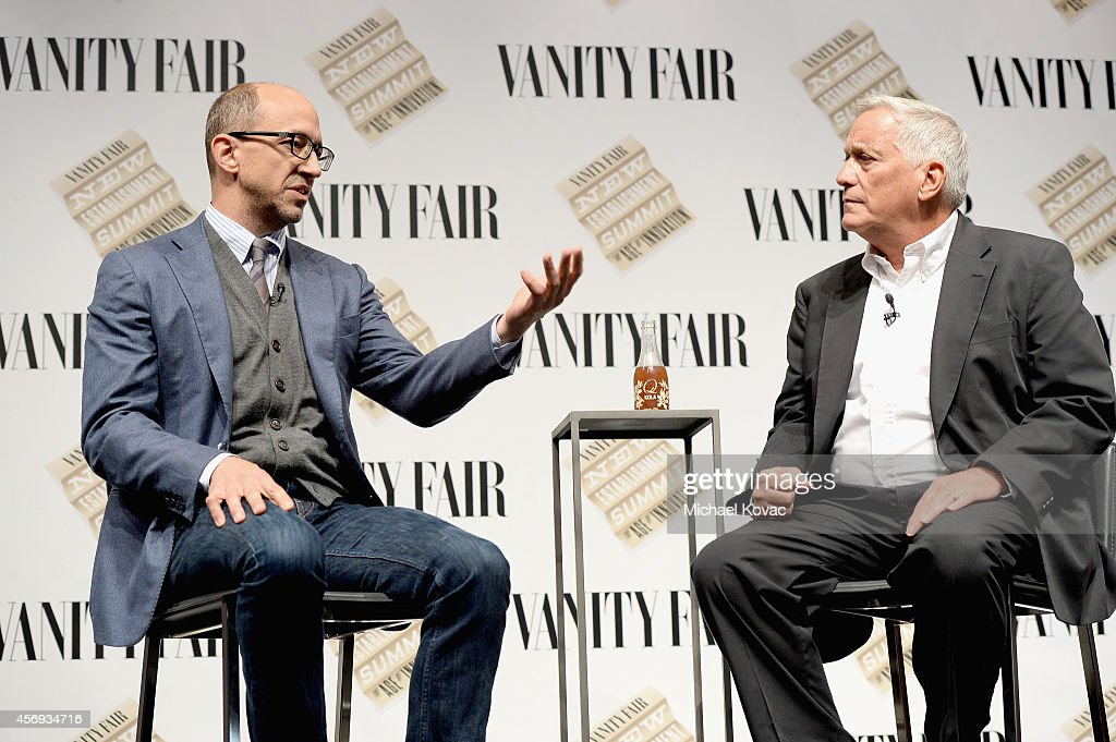 Twitter CEO Dick Costolo and Aspen Institute President and CEO Walter Isaacson speak onstage during 'Social Goes Global' at the Vanity Fair New...