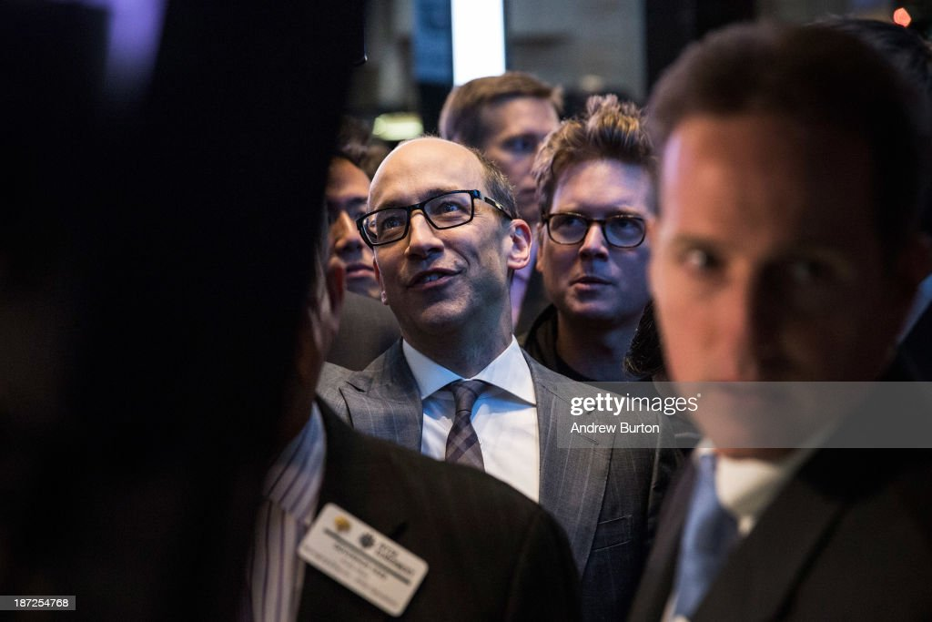 Twitter CEO <a gi-track='captionPersonalityLinkClicked' href=/galleries/search?phrase=Dick+Costolo&family=editorial&specificpeople=6698808 ng-click='$event.stopPropagation()'>Dick Costolo</a> waits to see what Twitter's opening market price will be on the floor of the New York Stock Exchange (NYSE) on November 7, 2013 in New York City. Twitter went public November 7, on the NYSE selling at a market price of $45.10, with the initial price being set at $26 on November 6.