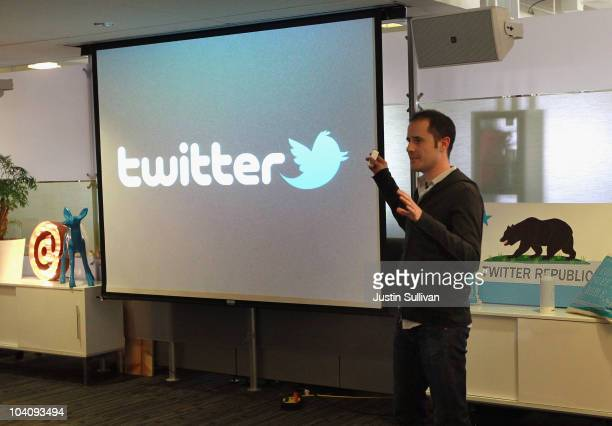 Twitter CEO Evan Williams announces the newly revamped Twitter website on September 14 2010 at Twitter headquarters in San Francisco California...