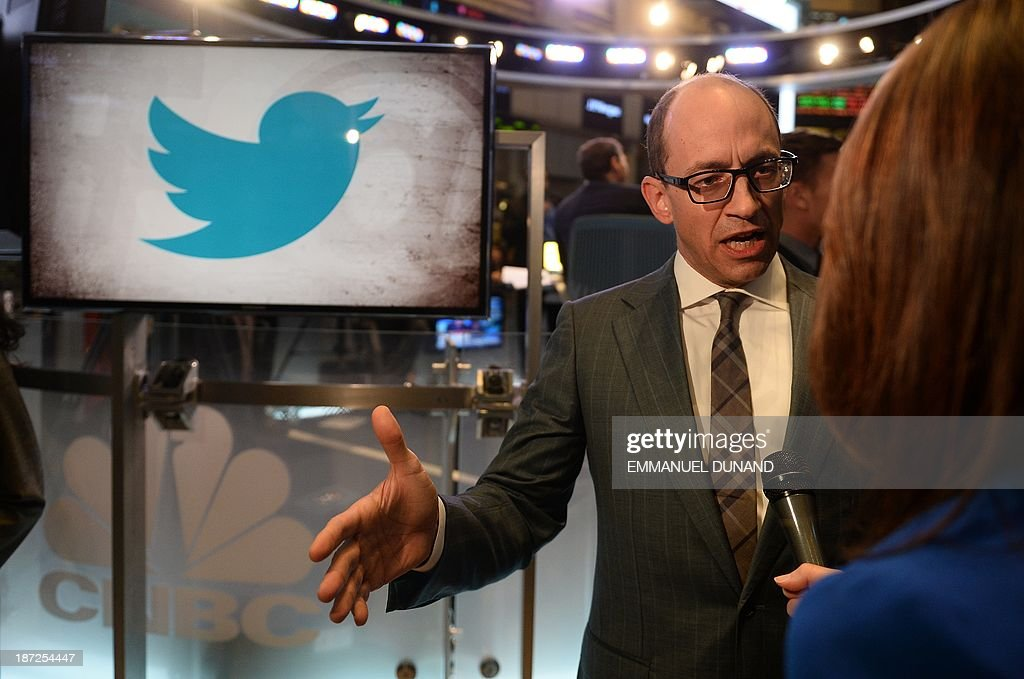 Twitter CEO Richard 'Dick' Costolo gives an interview on the trading floor of the New York Stock Exchange (NYSE) on November 7, 2013 in New York. Twitter hit Wall Street with a bang on Thursday, as an investor frenzy quickly sent shares surging after the public share offering for the fast-growing social network. In the first exchanges, Twitter vaulted 80.7 percent to $47, a day after the initial public offering (IPO) at $26 per share. While some analysts cautioned about the fast-changing nature of social media, the debut led to a stampede for Twitter shares. AFP PHOTO/EMMANUEL DUNAND