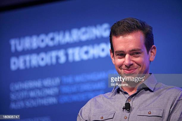 DETROIT MI Twitter Chairman and Square CEO Jack Dorsey moderates a panel discussion with Detroit entrepreneurs at Techonomy Detroit at Wayne State...