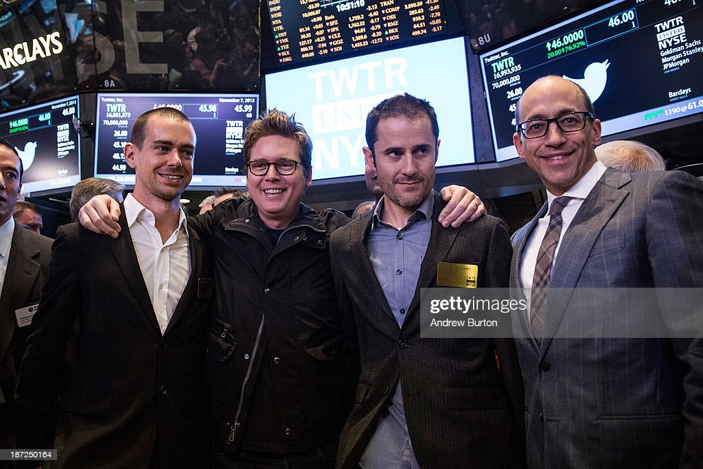 Twitter cofounder Jack Dorsey Twitter cofounder Biz Stone Twitter cofounder Evan Williams and Twitter CEO Dick Costolo pose for a photo after...