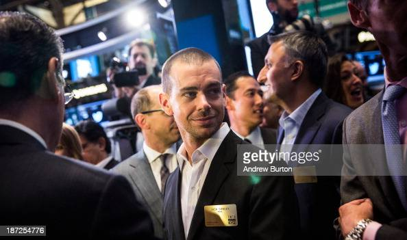 Twitter cofounder Jack Dorsey waits to see what Twitter's opening market price will be on the floor of the New York Stock Exchange on November 7 2013...