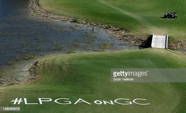 Twitter hashtag is seen on the 17th hole during the third round of the CME Group Titleholders at the TwinEagles Club on November 17 2012 in Naples...
