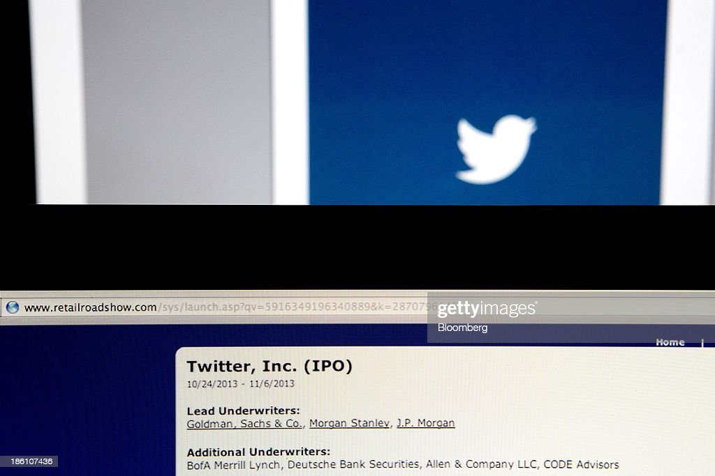 Twitter Inc. initial public offering (IPO) lead underwriters are displayed on a laptop computer for a photograph in Washington, D.C., U.S., on Monday, Oct. 28, 2013. Twitter Inc., which embarks on its road show to investors today, will make the case to potential investors in its initial public offering that it needs to keep spending to grow, and profit will come once it can reap the benefits of those investments. Photographer: Andrew Harrer/Bloomberg via Getty Images
