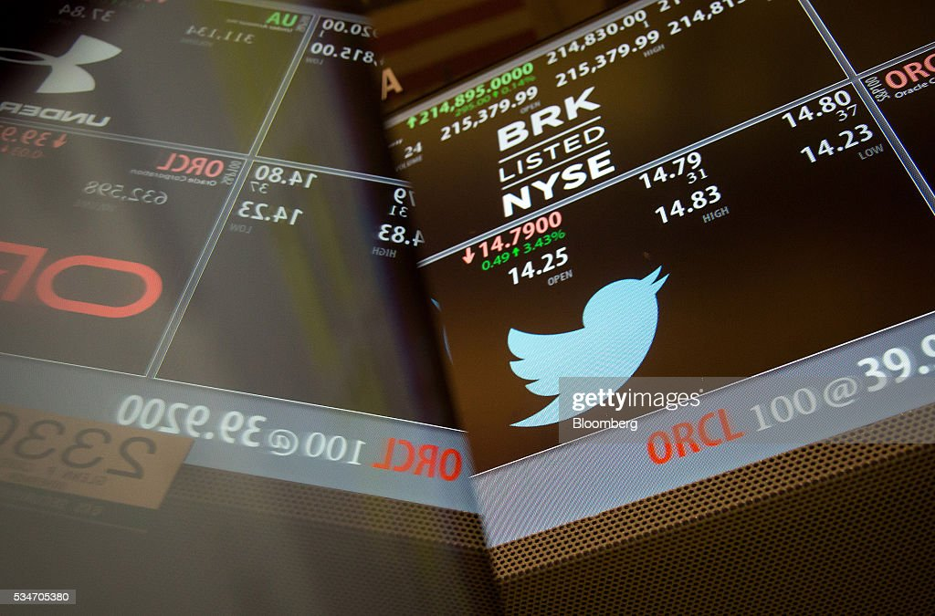 Twitter Inc. signage is displayed on a monitor on the floor of the New York Stock Exchange (NYSE) in New York, U.S., on Friday, May 27, 2016. U.S. stocks edged higher, with the S&P 500 on course for its biggest weekly advance since March, while investors awaited remarks from Federal Reserve Chair Janet Yellen for hints on the timing of the next interest-rate increase. Photographer: Michael Nagle/Bloomberg via Getty Images
