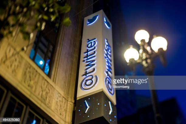 Image was created using a variable planed lens Twitter Inc signage is displayed outside of the company's headquarters in San Francisco California US...