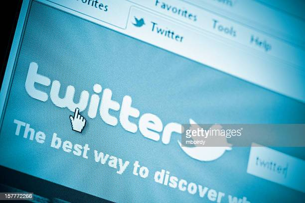 Twitter site in Internet Explorer browser on LCD screen