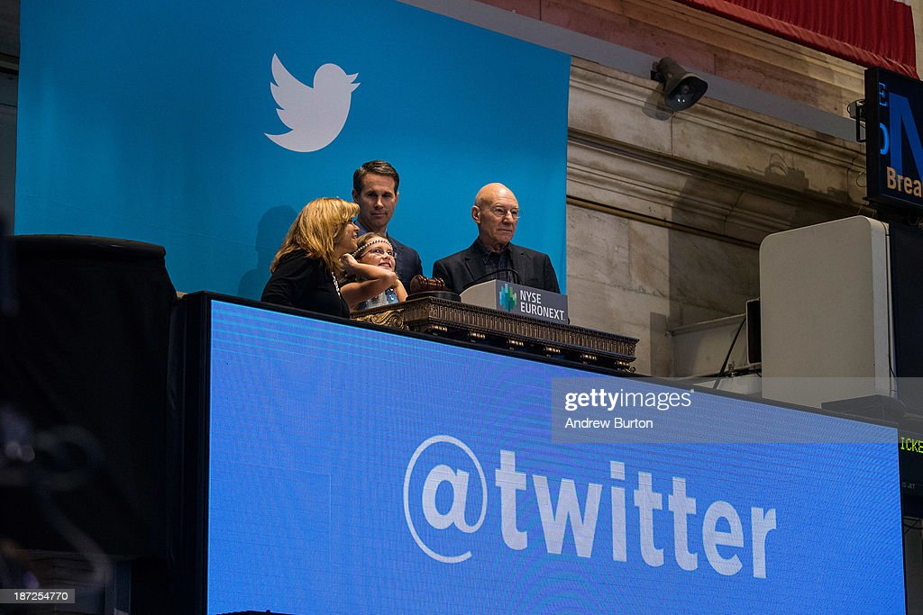 Twitter users, including actor Patrick Stewart (R), rings the opening bell at the New York Stock Exchange (NYSE) while also celebrating Twitter's IPO on November 7, 2013 in New York City. Twitter went public November 7, on the NYSE selling at a market price of $45.10, with the initial price being set at $26 on November 6.