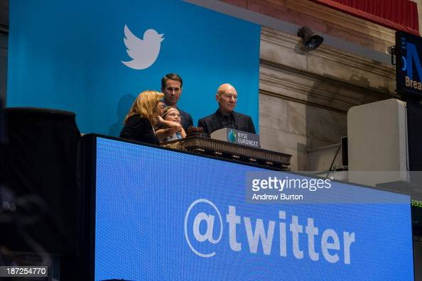 Twitter users including actor Patrick Stewart rings the opening bell at the New York Stock Exchange while also celebrating Twitter's IPO on November...
