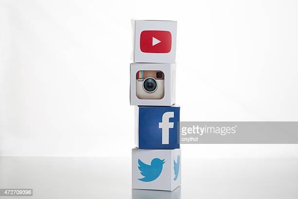 Twitter,Facebook,Instagram,Youtube Logos on Cubes