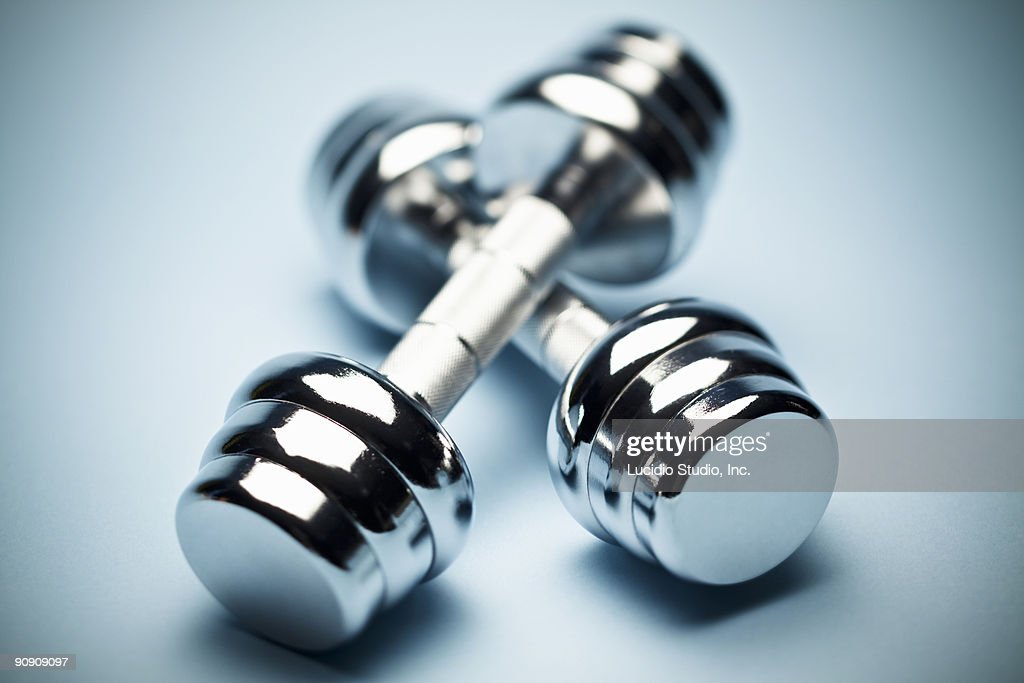 Two 10 Pound Chrome Dumbbells : Stock Photo